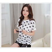 Mujer Bonito Noche Casual/Diario Verano Camiseta,Escote Redondo Un Color Geométrico Manga Corta Algodón Medio