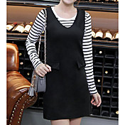 Mujer Sencillo Casual/Diario Verano T-Shirt Falda Trajes,Escote Redondo A Rayas Manga Larga Microelástico