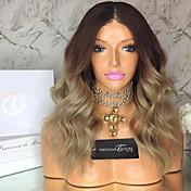 Mujer Pelucas de Cabello Natural Remy Encaje Frontal Frontal sin Pegamento 130% Densidad Ondulado Grande Peluca Medium Brown / Blonde de