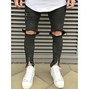 メンズ パンク&ゴシック ストリートファッション ミッドライズ スリム 非弾性 スリム ジーンズ パンツ デニム ゼブラプリント