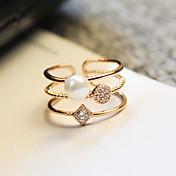 女性用 指輪 婚約指輪 キュービックジルコニア ツートン シンプルなスタイル Elegant ジェムストーン 真珠 ジルコン 合金 円形 ジュエリー 用途 結婚式 パーティー