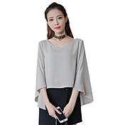 Mujer Simple Casual/Diario Camiseta,Escote en Pico Un Color Manga Larga Poliéster