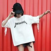 Mujer Simple Casual/Diario Primavera Verano Camiseta,Escote Redondo Retazos Letra Manga Corta Algodón Fino