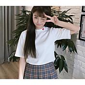 Mujer Simple Casual/Diario Primavera Verano Camiseta,Escote Redondo A Rayas Manga Corta Algodón
