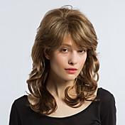 エーテル混合色長い縮毛人間の毛のかつら女性の髪