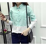 レディース カジュアル/普段着 シャツ,シンプル シャツカラー カラーブロック コットン 長袖