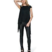 Mujer Simple Casual/Diario Camiseta,Escote Redondo Un Color Manga Corta Lino