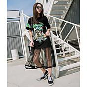 Mujer Simple Bonito Chic de Calle Noche Casual/Diario Primavera Verano Camiseta,Escote Redondo Estampado Retazos Manga Corta Algodón Fino