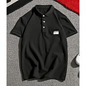 Pánské Jednobarevné Běžné/Denní Jednoduché Polo Polyester Límeček s knoflíkem Krátký rukáv