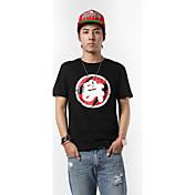Hombre Simple Punk & Gótico Tejido Oriental Casual/Diario Ropa Deportiva Verano Camiseta,Escote Redondo Diseño Especial Palabra/Frase