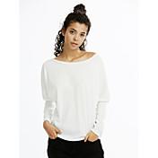 Feminino Camiseta Casual Simples Outono Inverno,Sólido Vermelho Branco Preto Cinza Algodão Raiom Decote Canoa Manga Longa Fina