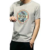 メンズ 日常 カジュアル 夏 Tシャツ,シンプル ラウンドネック パターン柄 プリント コットン混 半袖 薄手