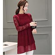 Mujer Simple Casual/Diario Camiseta,Escote Redondo Un Color Manga Larga Otro