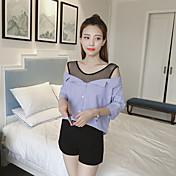 Mujer Sexy Casual/Diario Camisa,Escote Redondo A Rayas Manga Corta Algodón