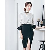 Mujer Sencillo Casual/Diario Verano Camisas Falda Trajes,Escote en V A Rayas Manga Larga Microelástico