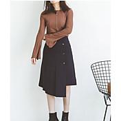 Mujer Sexy Noche Verano Camisa,Escote Redondo Un Color Manga Larga Algodón Fino