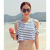 Mujer Sexy Simple Bonito Casual/Diario Playa Primavera Verano Camiseta,Escote Redondo A Rayas Sin Mangas Algodón Fino