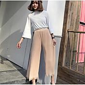 Mujer Chic de Calle Tiro Alto Microelástico Ajustado a la Bota Pantalones,Perneras anchas Un Color Color puro