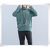 Mujer Simple Casual/Diario Primavera Verano Camiseta,Cuello Alto Un Color Manga Larga Otro Fino