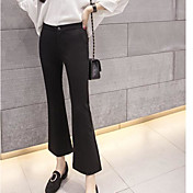 Mujer Sencillo Tiro Medio Microelástico Chinos Pantalones,Holgado Un Color