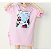 レディース お出かけ パーティー Tシャツ,ヴィンテージ ストリートファッション ラウンドネック ソリッド プリント コットン 半袖