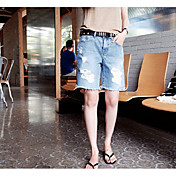 Mujer Sencillo Tiro Medio Inelástica Shorts Pantalones,Corte Recto Un Color
