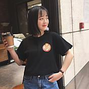 Mujer Simple Noche Verano Camiseta,Escote Redondo Estampado Manga Corta Poliéster Medio