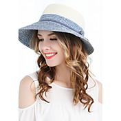 Mujer Primavera Verano Otoño Vintage Bonito Fiesta Casual Sombrero de Paja,Bloques Color Mixto