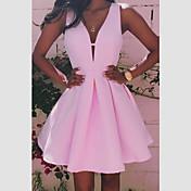 Mujer Línea A Vaina Vestido Fiesta Noche Sofisticado,Un Color Escote en Pico Sobre la rodilla Manga Corta Poliéster Verano Tiro Alto