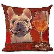 1 個 リネン 枕カバー,犬 コンテンポラリー