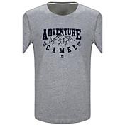 メンズ カジュアル/普段着 夏 Tシャツ,シンプル ラウンドネック レタード コットン 半袖 スモーキー