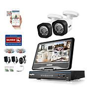 sannce®4ch 2pcs 1080p液晶防犯セキュリティシステムは、hddなしでアナログahd tvi ipカメラをサポート