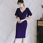 Mujer Línea A Corte Bodycon Vestido Cita Sexy,Color sólido Escote en V Profunda Hasta la Rodilla Manga Corta Otro Verano Tiro Alto