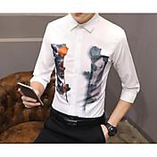Masculino Camisa Social Casual SimplesEstampado Algodão Colarinho Chinês Manga Longa