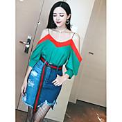 Mujer Sencillo Casual/Diario Verano T-Shirt Falda Trajes,Escote Barco Un Color Manga Larga Microelástico