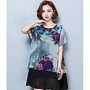 レディース カジュアル/普段着 夏 Tシャツ,シンプル ラウンドネック フラワー ポリエステル 半袖