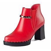 Mujer Botas Pump Básico Sintético Invierno Pump Básico Tacón Robusto Negro Rojo 7'5 - 9'5 cms