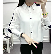 レディース カジュアル/普段着 春 シャツ,シンプル シャツカラー ソリッド ナイロン 長袖