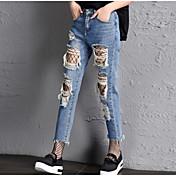 Mujer Chic de Calle Tiro Medio Microelástico Vaqueros Shorts Pantalones,Corte Recto Un Color