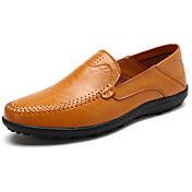 Hombre Zapatos Goma Primavera Otoño Mocasín Zapatos de taco bajo y Slip-On Para Negro Marrón Claro Morrón Oscuro