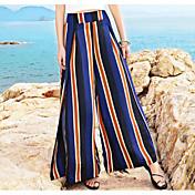 レディース ストリートファッション ミッドライズ ワイドレッグ 伸縮性 ワイドレッグ パンツ カラーブロック ストライプ