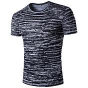 メンズ カジュアル/普段着 お出かけ 夏 Tシャツ,シンプル 活発的 シャツカラー ストライプ ギャラクシー コットン レーヨン 半袖 薄手
