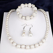 ブライダルジュエリーセット 人造真珠 ファッション 真珠 円形 1×ネックレス 1×イヤリング(ペア) 1×ブレスレット のために パーティー 日常 1セット ウェディングギフト