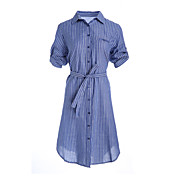 Mujer Camisa Vestido NocheA Rayas Cuello Camisero Hasta la Rodilla Manga Corta Algodón Primavera Verano Tiro Medio Rígido Fino