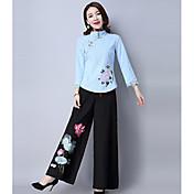 Mujer Boho Tiro Medio Eslático Perneras anchas Pantalones,Perneras anchas Estampado