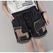 Mujer Sencillo Tiro Medio Microelástico Vaqueros Shorts Pantalones,Holgado Bloques