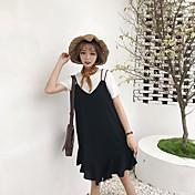 Mujer Simple Noche Primavera T-Shirt Falda Trajes,Escote Redondo Un Color Manga Corta