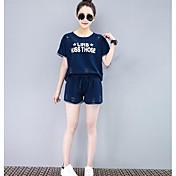 Mujer Casual Casual/Diario Verano T-Shirt Pantalón Trajes,Escote Redondo Un Color Refranes y citas Manga Corta Microelástico
