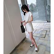 Mujer Casual Diario Casual Verano T-Shirt Vestidos Trajes,Escote Redondo Un Color Manga Corta Microelástico
