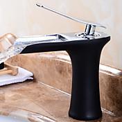 現代風 モダンスタイル デッキマウント 滝状吐水タイプ with  セラミックバルブ シングルハンドルつの穴 for  ブラック , バスルームのシンクの蛇口